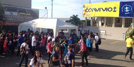 Young people signing up for Convivio